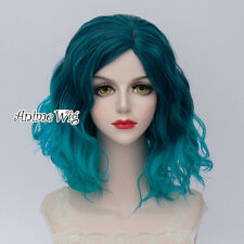 35CM Lolita Women Party Blue Ombre Curly Hair Cosplay Wig Heat Resistant