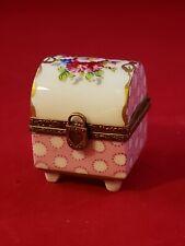 Vintage Pink Polka Dotted Square Limoges French Porcelain Floral Trinket Box