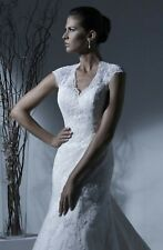 NWT WHITE Lace Size 12 Jacquelin Exclusive 19913 Bridal gown wedding dress