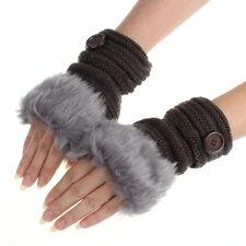 Women Winter Fashion Faux Rabbit Fur Girl Warm Wrist Fingerless Gloves Mittens J