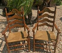 Ethan Allen Heirloom Arm Chairs Pair Ladderback Fruit Decorated Fiber Seat
