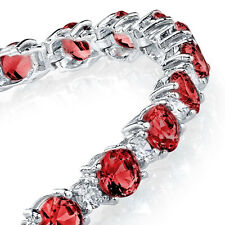 925 Sterling Silver Round Classic Simulated Ruby & Diamonds Tennis Bracelet