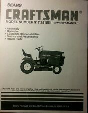 Sears Craftsman 22.5 Garden Tractor & 50 Mower Owner, Parts & Service (2 Manuals