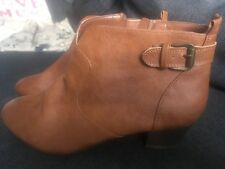 Barratts Ladies Ankle Boots Size UK 8 EU 42 Tan Leather