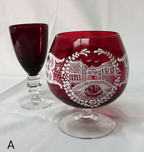 Hand Painted Red Blown Glass Goblet White Bridge Flower Design with Bonus Glass