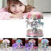 LED Light Merry-Go-Round Music Box Carousel Christmas Birthday Kids Toy Gifts AU