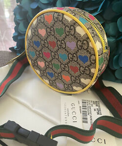 Stunner!* NWT Authentic Gucci GG Supreme Hearts Leather Belt Bag One Size