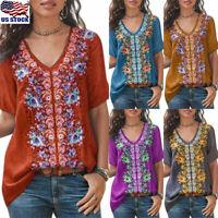 Women Boho Embroidered Tops T Shirt Short Sleeve Blouse Lady V Neck Loose Shirts