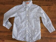 Crewcuts Boys Size 4/5 Button Front Dress Shirt Blue & White Pin Stripes L/S
