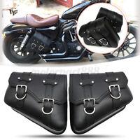 Coppia Borse Laterali Saddle bag Bisacce Rigide Moto Chopper Custom Nero Rivetto