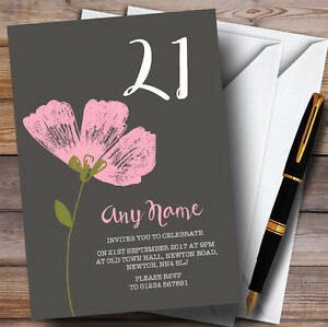 Pink Watercolour Flower 21st Personalised Birthday Party Invitations