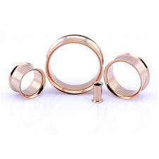 Rose Gold Ear Tunnel Double Flared Metal Ear Flesh Tunnel Plug - 5mm - 30mm