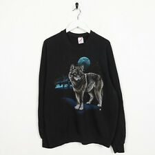 Vintage USA Graphic Wolf Sweatshirt Jumper Black XL
