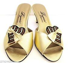 DEZARIO. Metallic/Gold-Leaf Leather Jeweled Heart & Bow, Kitten Heel Sandals, 6