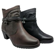 WOMENS LADIES ANKLE BOOTS WINTER WORK CASUAL BLOCK MID HEELS SHOES SIZE