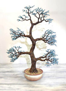 Angelite Gemstone Tree Bonsai Tree Crystal Wire Wrapped Tree Sculpture Home Deco