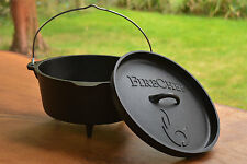 FireChef Dutch Oven, 4l Cast Iron Cooking Pot for Campfire, Fire Pit & BBQ