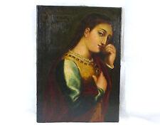 Grande Ritratto Dipinto Immagine Olio tela 19 Secolo autografato Italia Venezia