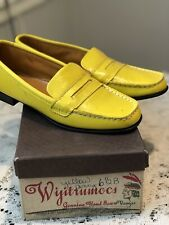 Wijitru Yellow Penny Loafers Shoes 6.5 B Vintage Nos Nib Hand Sewn