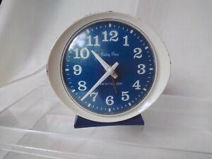 Vintage Mechanical WindUp Baby Ben Westclox Alarm Working Blue Face Clock