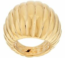 VICENZA SILVER 18K GOLD-PLATED ITALIAN SILVER BOLD DOMED RIBBED RING SIZE 6 QVC