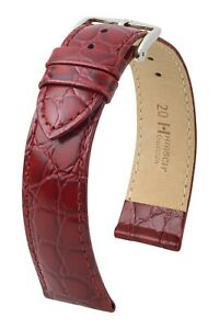 """HIRSCH XS Crocodile Style Watch Band """"Crocograin"""", 8-20 mm, 8 colors, new!"""