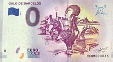 BILLET 0 EURO  GALO DE BARCELOS PORTUGAL   2019-1  TOUT PETIT NUMERO  33
