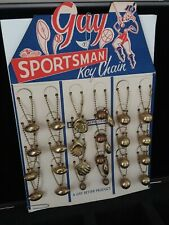 VINTAGE SPORTSMAN KEY CHAIN DEALER DISPLAY w/ORIGINAL CHARMS GAY BETTER PRODUCT