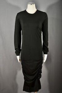 Michael Kors Knit Italian Yarn Merino Wool Long Sleeve Draped Midi Dress Size L