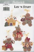 Butterick 4122 Luv N Stuff No Sew Gingerbread Ornaments Pattern UNCUT FF Xmas