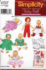 "SIMPLICITY SEWING PATTERN 4707 BABY DOLL CLOTHES 3 SZS 12""-14""; 16""-18""; 20""-22"""