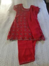 Women's Indian three piece red salwar set size small dupatta included