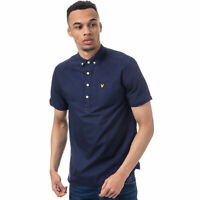 Mens Lyle And Scott Mens SS Garment Dye Oxford Over The Head Shirt in Navy - XS
