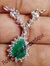 Round Real 1.24ct Diamond 14k Solid White Gold Wedding PartyLook Emerald Pendant