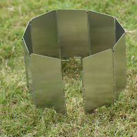Sliver Foldable Outdoor Camping Cooker Gas Stove Wind Shield Screen 9 Plates