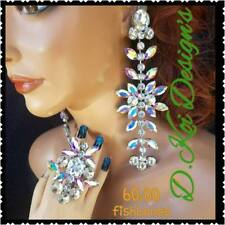 drag queen jewerly new AB crystal show pageant dragqueen Ring earrings clip long