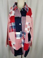 Vintage Roamans Star American Flag Boyfriend Blazer Jacket Womens 4 USA Red Blue