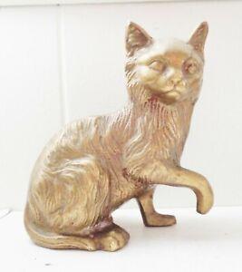 VINTAGE SOLID BRASS CAT FIGURINE BEAUTIFUL DESIGN NR