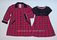 YOUNGLAND - CHRISTMAS - DRESS & COAT SET – BLACK & RED - PLAID - SZ 4T – NEW $68