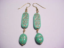 Egyptian Talisman Scarab Gold Etched Opaque Turquoise Glass Bead Earrings