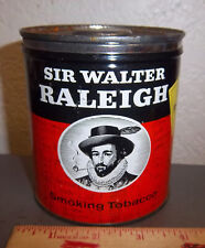 vintage Sir Walter Raleigh round 7 oz tobacco tin, pipe offer ad on side