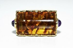 20.41CT NATURAL AMBER & AMETHYST COCKTAIL SILVER RING SIZE 6.25