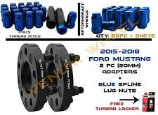 "(2PC) Ford Mustang 5x114.3"" Black Adapters+(20PC) Blue Spline Lug Nuts 14x1.5"