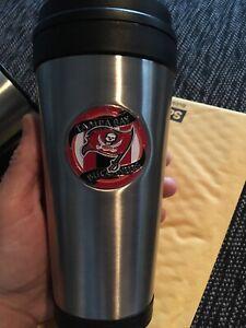 Tampa Bay Buccaneers Tumbler 16oz Stainless Steel Travel Mug with Logo Emblem