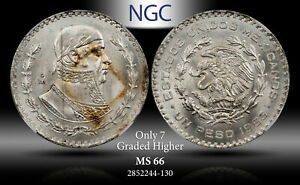 1963-MO MEXICO 1 PESO NGC MS 66 SILVER ONLY 7 GRADED HIGHER
