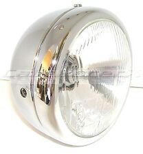 "Lucas British Style 6"" Chrome Motorcycle Complete Headlight Triumph Cafe Racer"