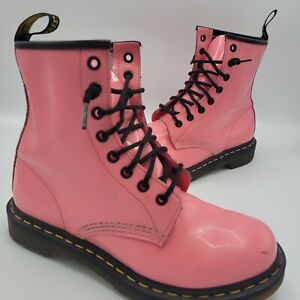 DOC MARTENS Bubblegum Pink AIR WAIR Soles 1460  Patent Leather Boots WOMEN US 8