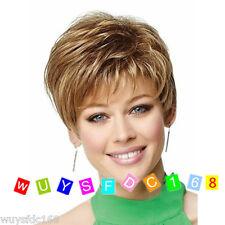 Fashion sexy Women's ladies short Brown blonde mixed Natural Hair wigs +Wig Cap