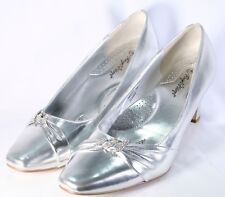 Silver Metallic Holiday Party Pumps Wedding Pumps Size 13W
