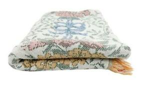 Flowers & Bows Tapestry Throw Blanket Woven Fringe Ends Blue Pink White